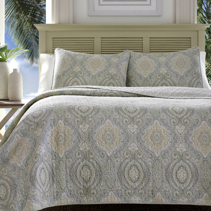 Gray/Tan/Blue Turtle Cove Reversible Quilt Set (KING)  #5230