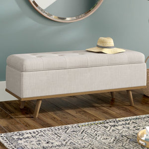 Beige Valerio Upholstered Flip top Storage Bench  #4270