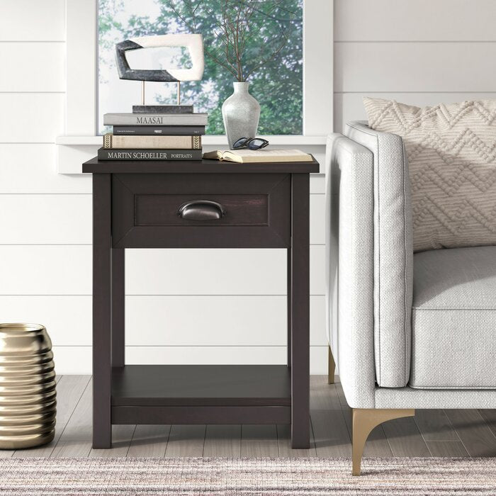 Xanthe 1 Drawer Nightstand in Black #4147