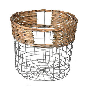 Round Wire Basket w/ Woven Bamboo  #5253