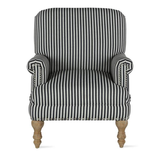 Joy Black Striped Upholstered Accent Chair #3015
