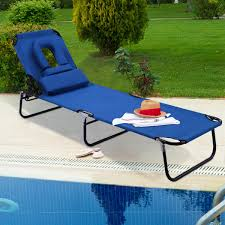 Costway Patio Foldable Chaise Lounge BLUE #6169