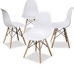 Set of 4 Modern DSW Dining Side Chair Wood Legs    #4431
