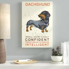 Beige 'Dachshund Print' Graphic Art Print on Wrapped Canvas   12 x 19  #4475