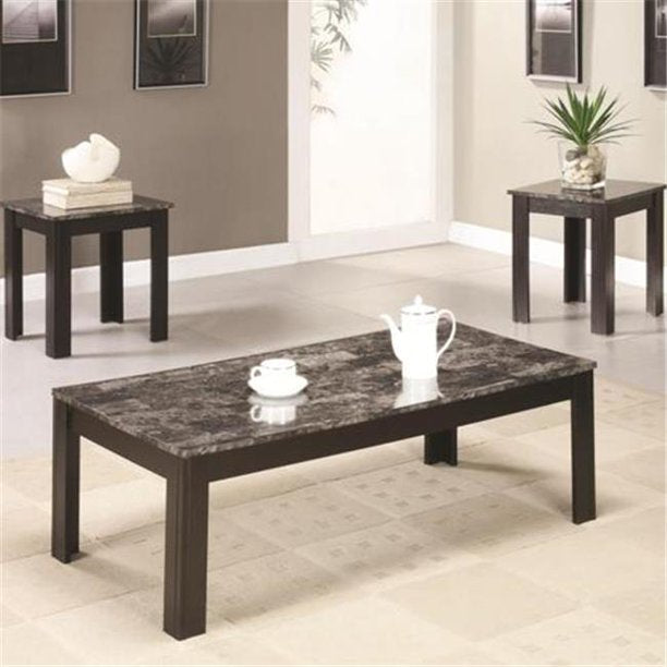Coaster 3 Piece Occasional Coffee and End Table Set with Marble  #5112