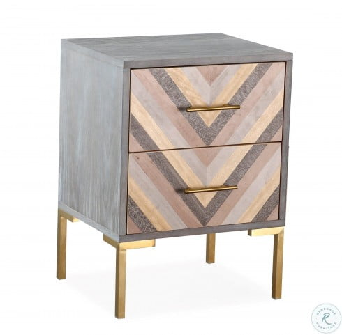 Quinn Gray and Gold Nightstand   #4326