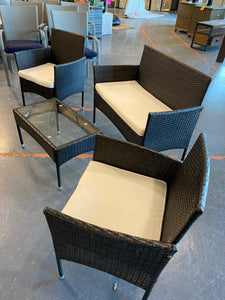 Woodland Park 4 Piece Rattan Sofa Seating Group with Cushions