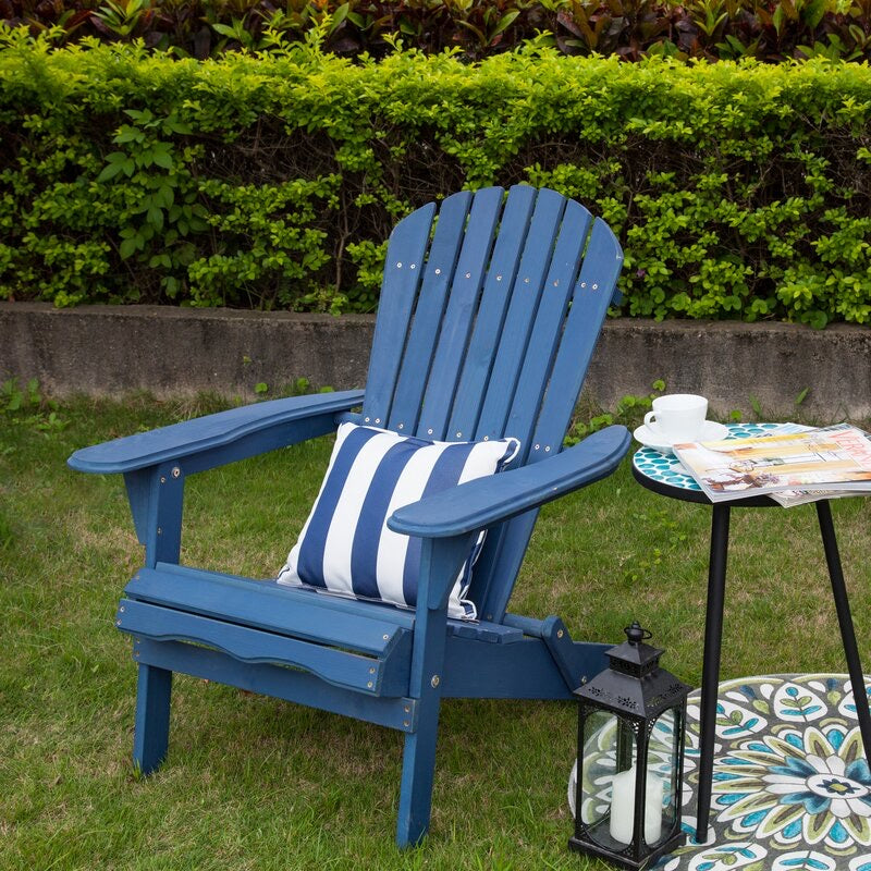 Navy Blue Cuyler Solid Wood Folding Adirondack Chair #690