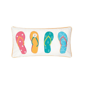 Gervaiss 4 Flip Flops Cotton Lumbar Pillow #785