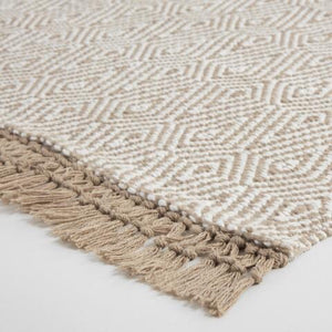 Beige And Ivory Woven Diamond Indoor Outdoor Rug #731