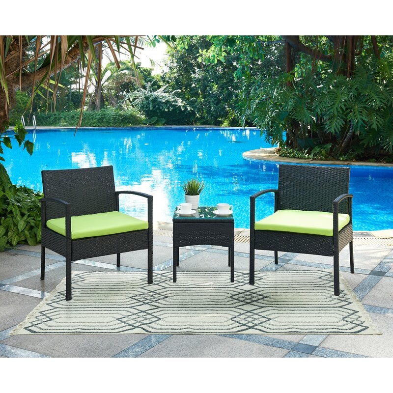 Kobe 3 Piece Rattan Conversation Set with Cushions #1928
