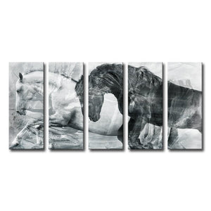 'Equestrian' 5 Piece Painting Canvas Set #945