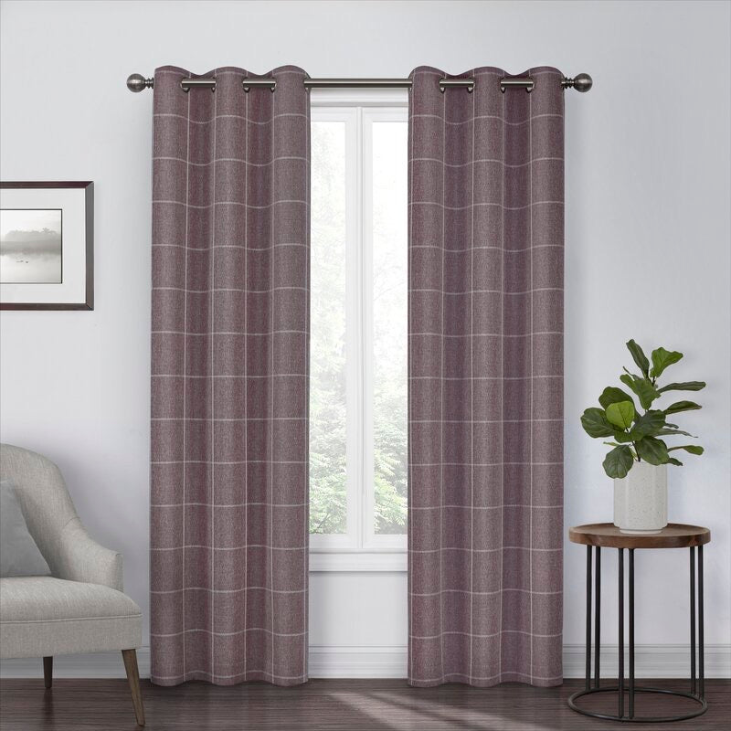 (Set of 2) Grahm Striped Blackout Thermal Grommet Single Curtain Panel #810