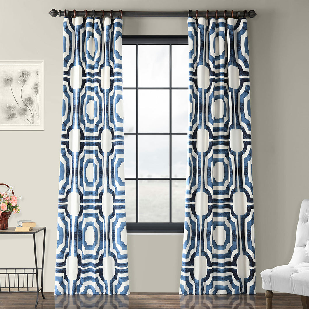 (set of 3)Donato Cotton Geometric Room Darkening Rod Pocket Single Curtain Panel  #5094