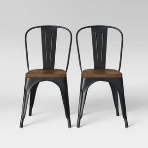 Set of 2 Carlisle High Back Dining Chair - Threshold™ in Matte Black #4050