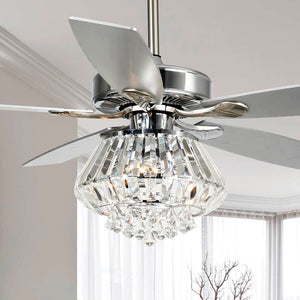 "52"" Zuniga Crystal 5 Blade Ceiling Fan with Remote, Light Kit Included #901"