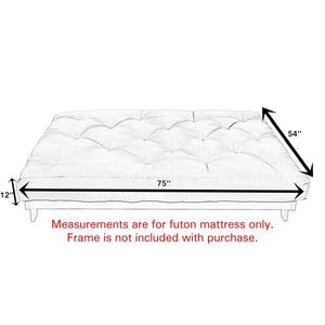 "12"" Cotton Memory Foam Futon Mattress #748"