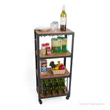 Load image into Gallery viewer, 4 Tier Wood and Metal Bar Cart #904