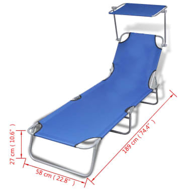 Folding Sun Lounger with Canopy #590