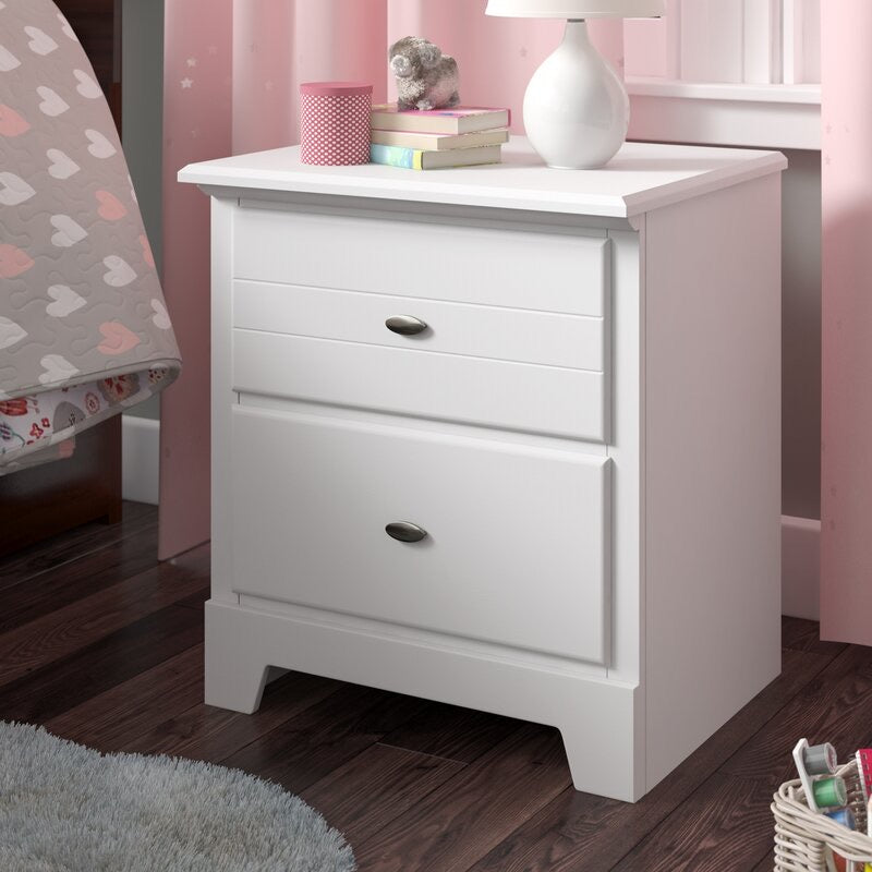 White Amarion 2 Drawer Nightstand #1073
