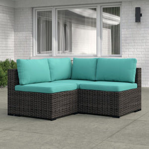 Holliston 3 Piece Rattan Sectional Seating Group with Cushions #760
