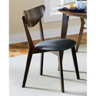 "18"" Dining Chair, Black and Dark Walnut Set of 2   #4361"