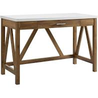 "46"" A-Frame Desk with Natural Walnut Base and White Faux-Marble Top  #4384"