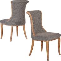 Set of 2-Sheffield Flared Back Chair - Linon (charcoal) #5052
