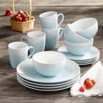 oasis mint/white 12pc dinner set   #5344