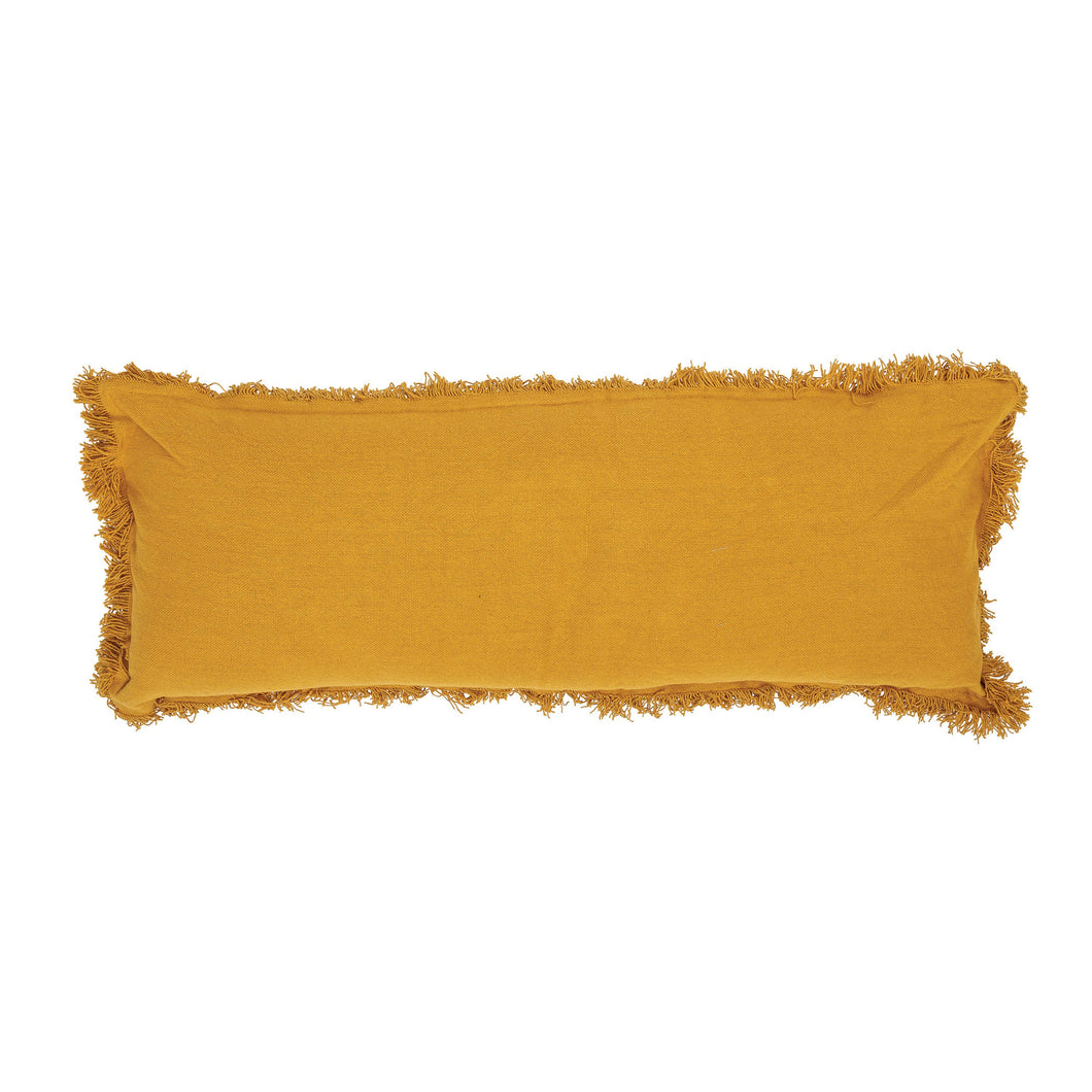 MUSTARD YELLOW RECTANGLE COTTON LUMBAR PILLOW WITH FRINGE ELG2111