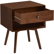 Mid-Century 1 Drawer Solid Wood Nightstand in Walnut   #4359