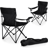 Set of 2 Picnic Time Camp Chair with Carrying Case in Black  #4446