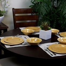 Load image into Gallery viewer, Mauna 12-Piece Yellow Crackle Dinnerware Set  (yellow crackle) #5072