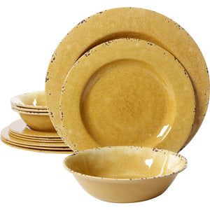Mauna 12-Piece Yellow Crackle Dinnerware Set  (yellow crackle) #5072