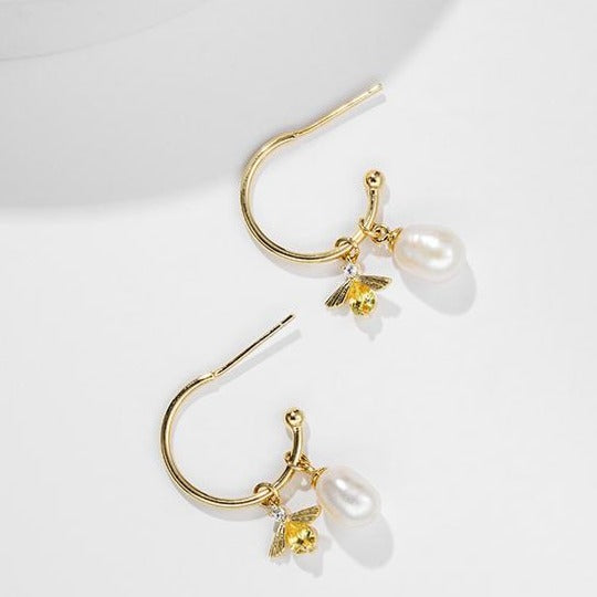 Bee Pearl Hoop Earrings