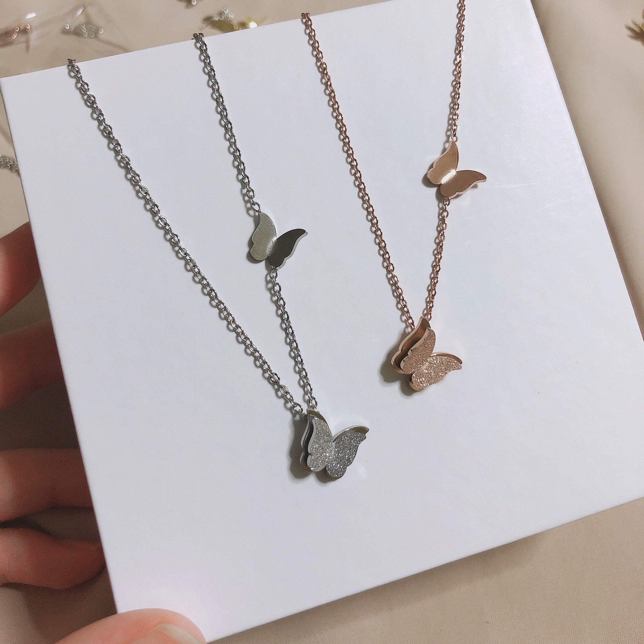 Butterfly Necklace (Rose Gold/Silver)