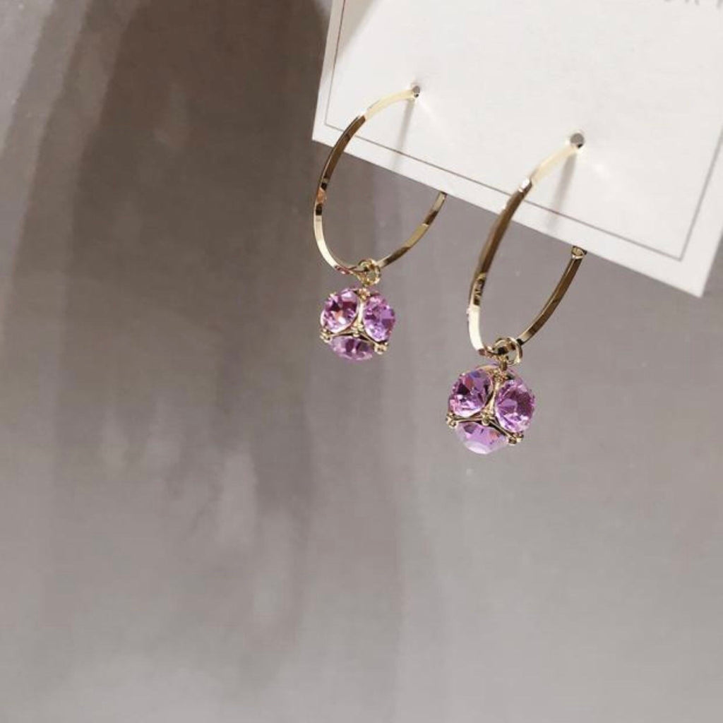 Lilac Sphere Hoop Earrings
