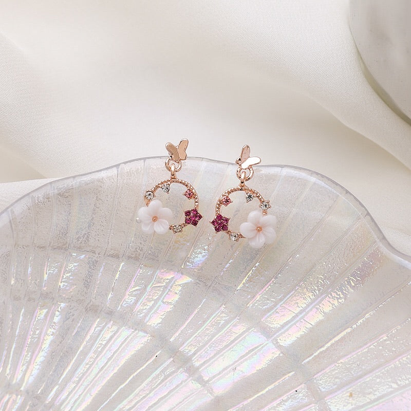 Pink Secret Garden Drop Earrings