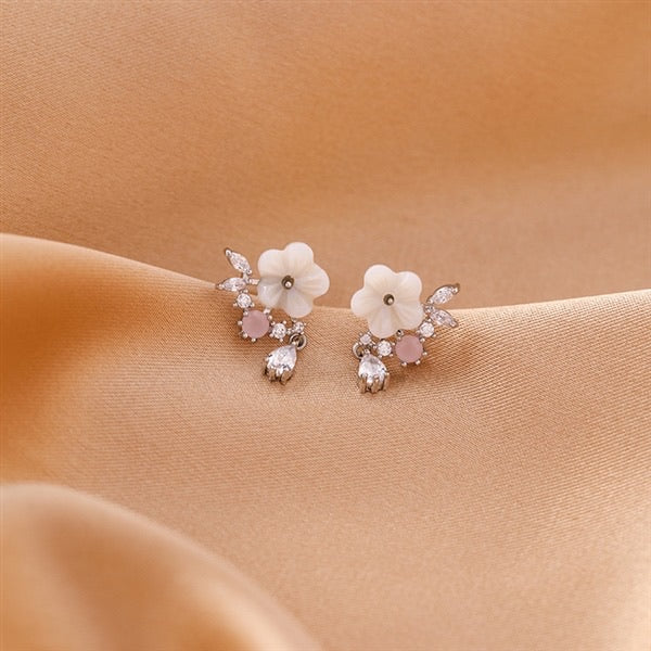 White Floral Drop Earrings