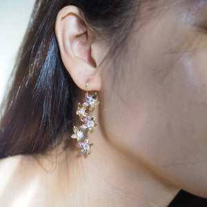 Floral Dream Long Earrings in Gold