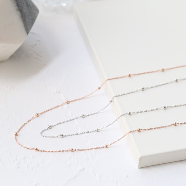 Bead Choker Necklace (Rose Gold/Silver)