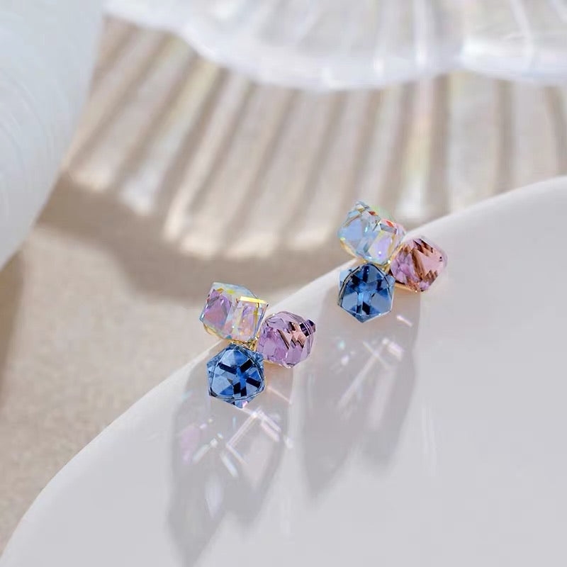 Tricolor Crystal Earrings