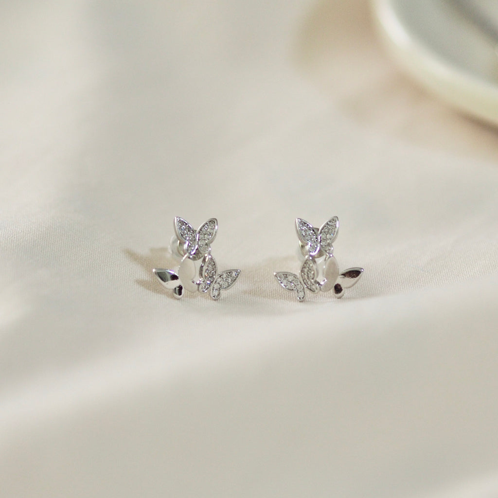 Trio Butterflies Earrings Studs in Silver