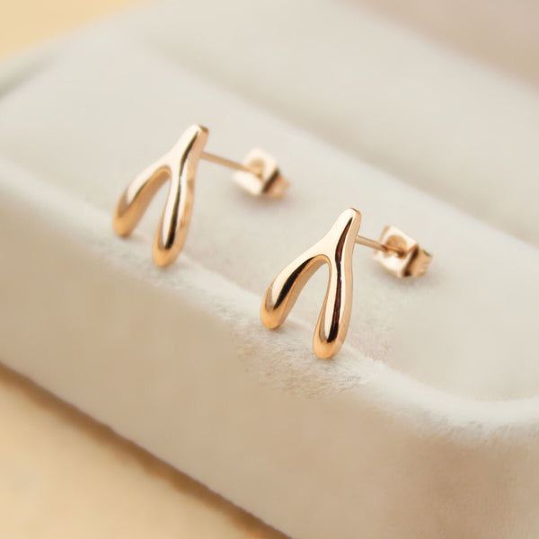 Wishbone Earrings (Rose Gold/Silver)