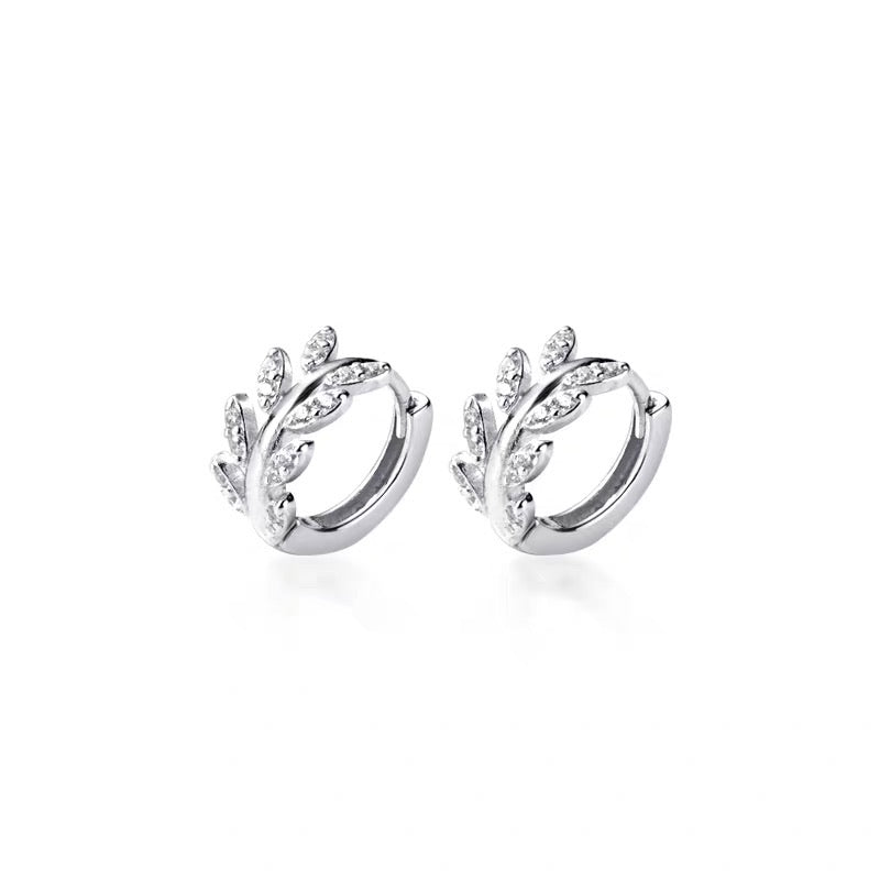 Leaf Crown Round Huggies in Silver