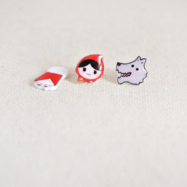 Little Red Riding Hood Ear Studs