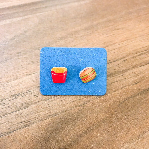 Burger and Fries Ear Studs
