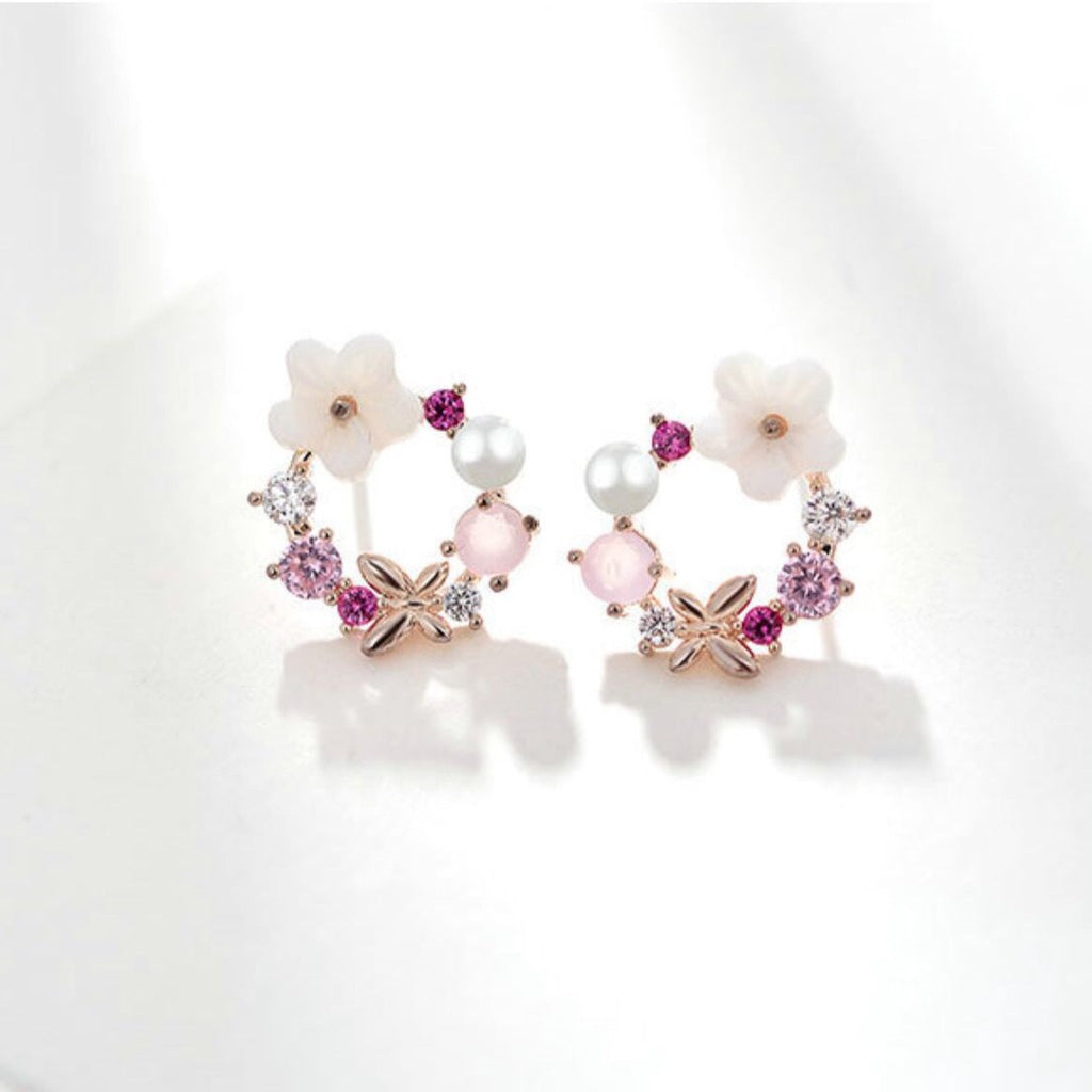 Pink Secret Garden Earrings *BACKORDER*