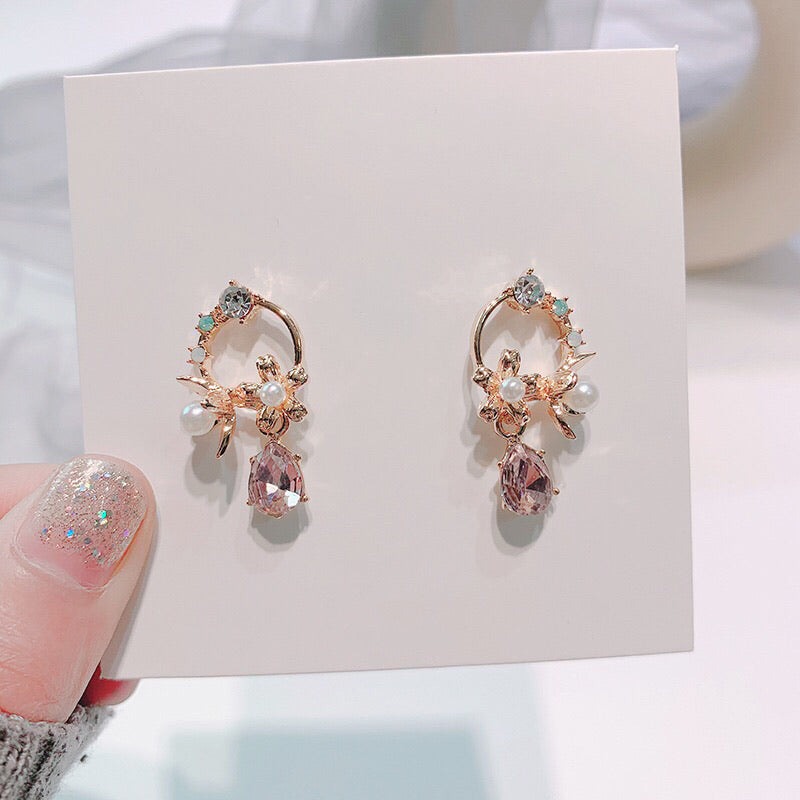 Pink Crystal Floral Earrings