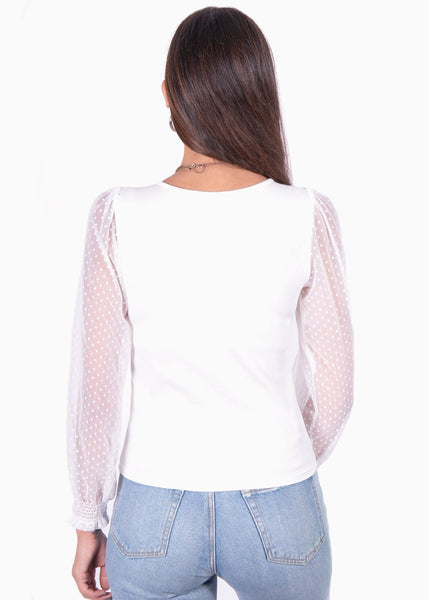 Blusa color blanco manga larga con mangas en transparencia para mujer flashy